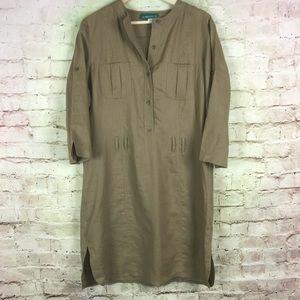 La Redoute Linen Shift Dress Size 14 Brown